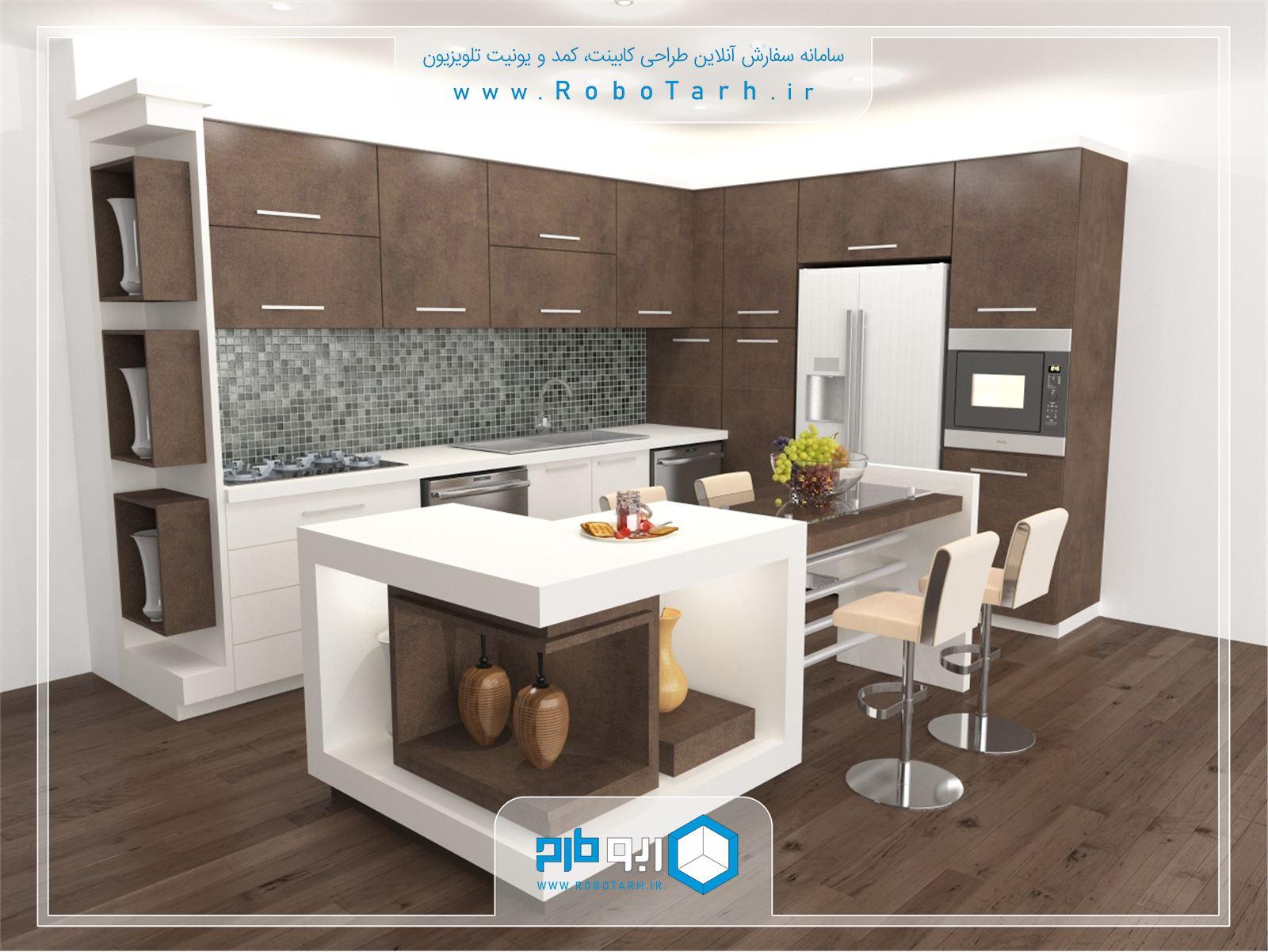 کابینت آشپزخانه کوچک سفید و قهوه ای