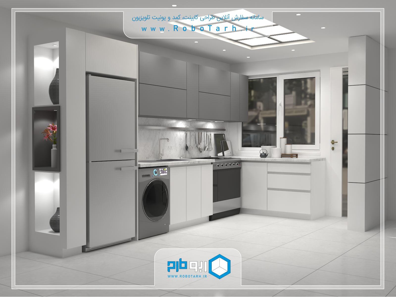 کابینت آشپزخانه کوچک سفید رنگ