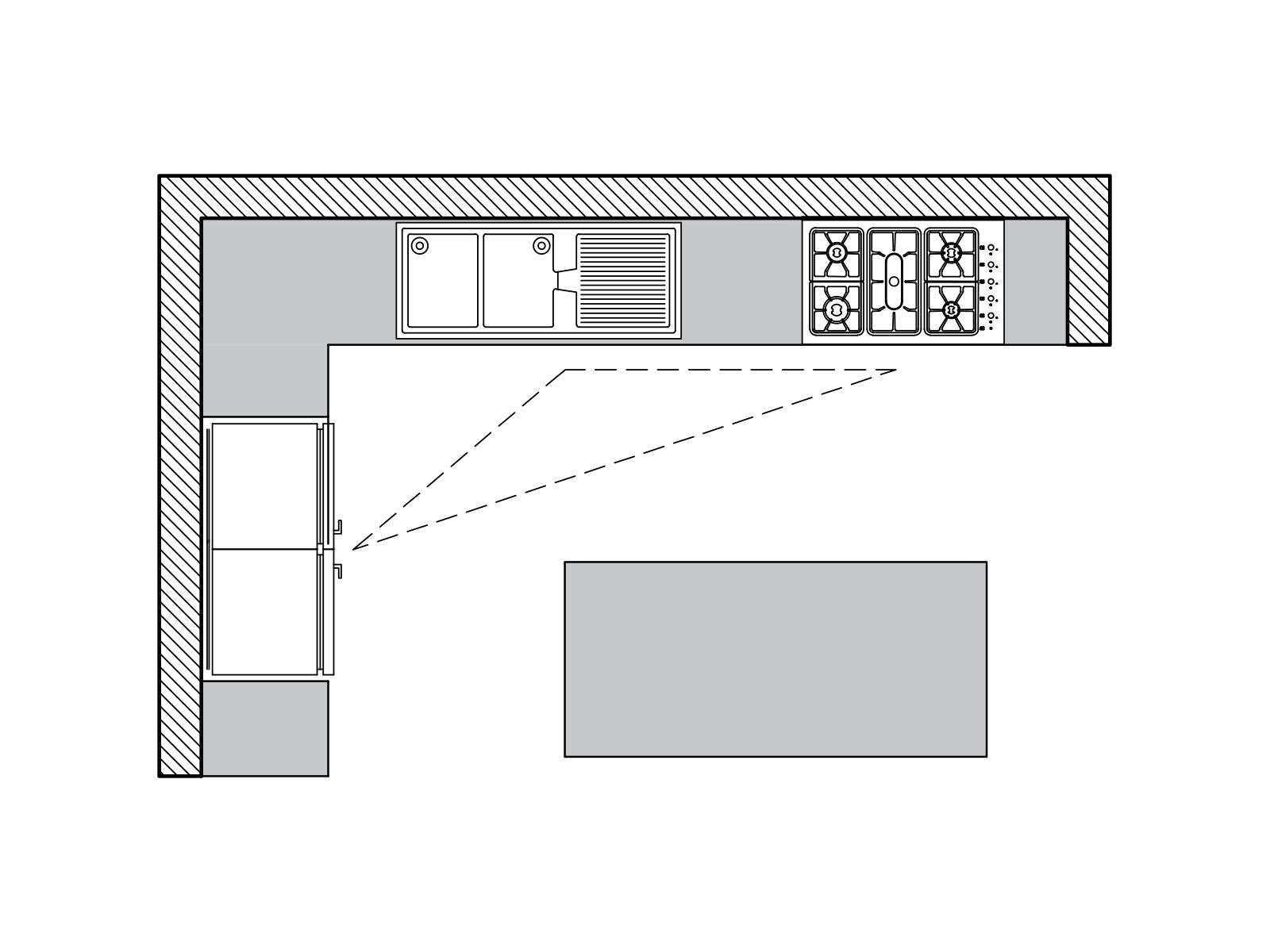پلان آشپزخانه ال شکل به همراه جزیره