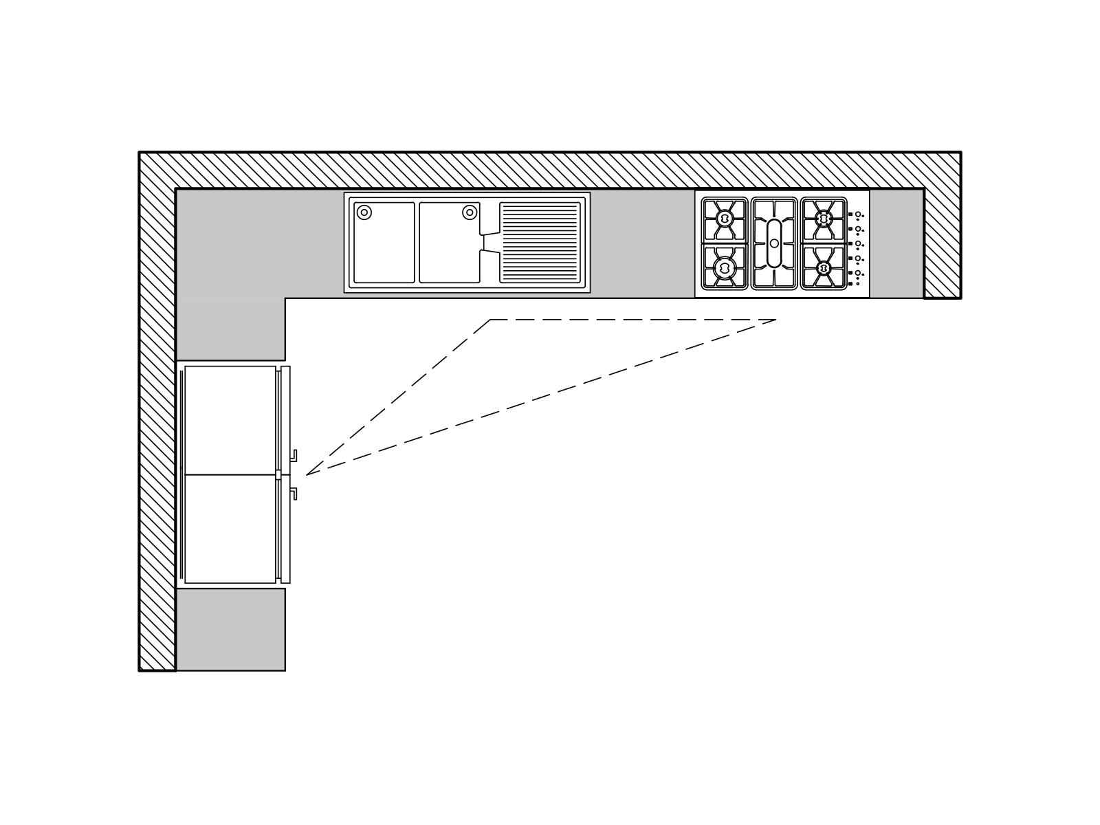 پلان آشپزخانه ال شکل