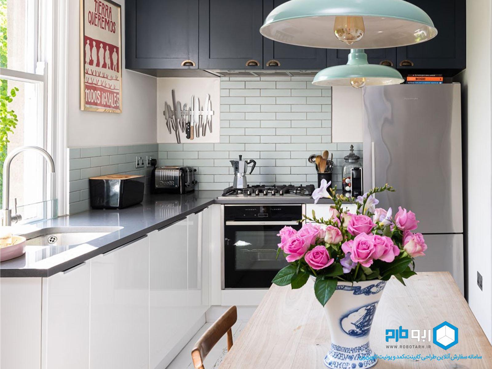 مثلث کار در آشپزخانه با چیدمان ال
