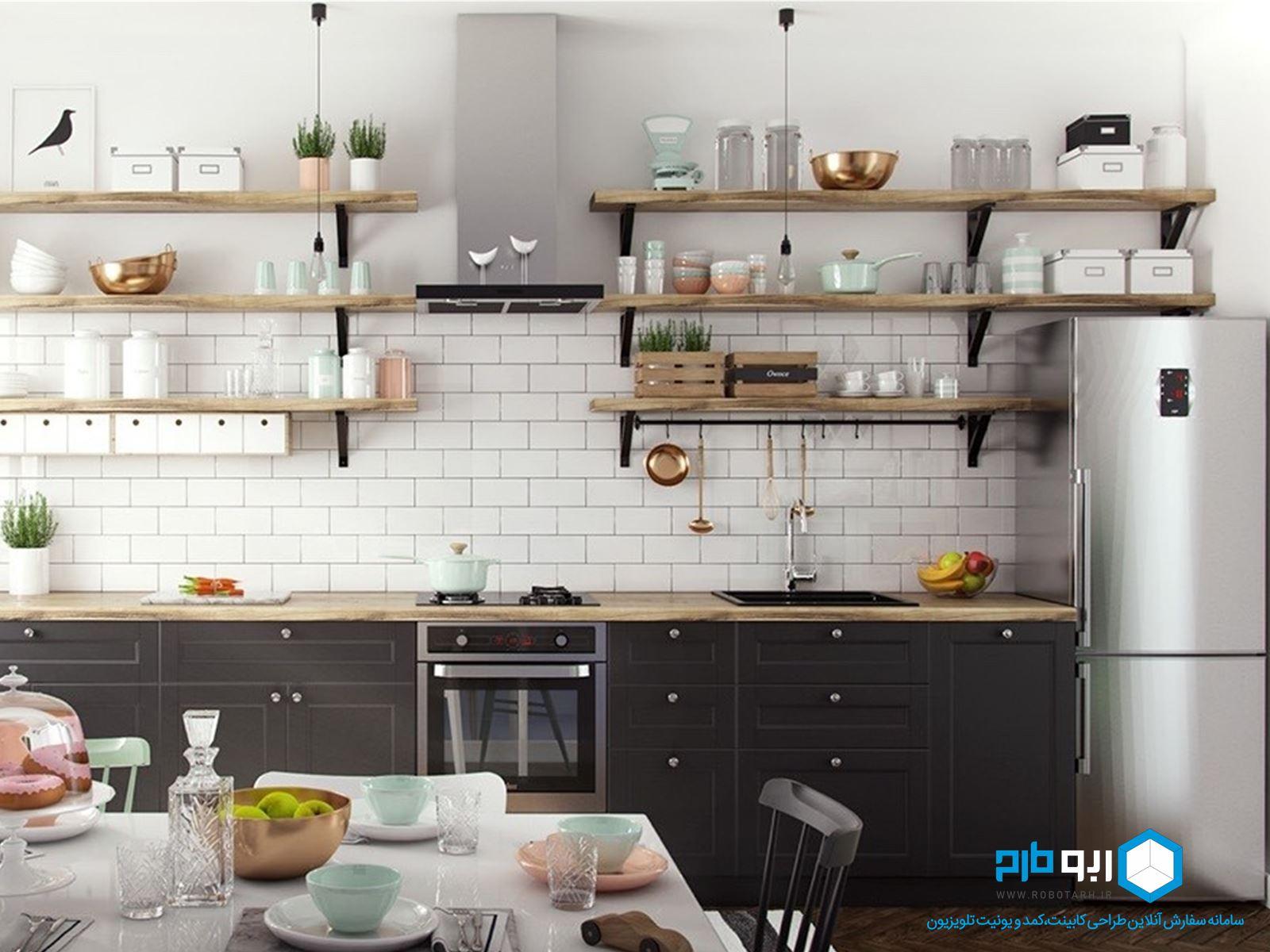 استفاده از شلف در آشپزخانه خطی