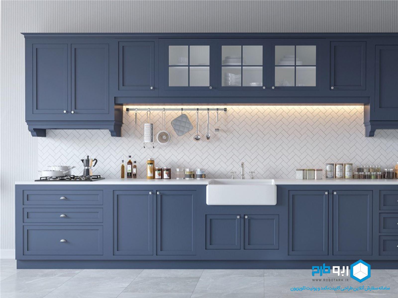 آشپزخانه خطی به سبک کلاسیک