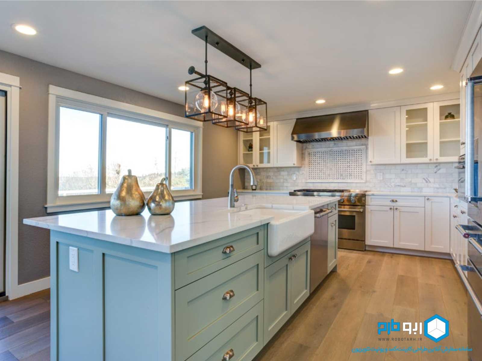 کابینت آشپزخانه 2 رنگ