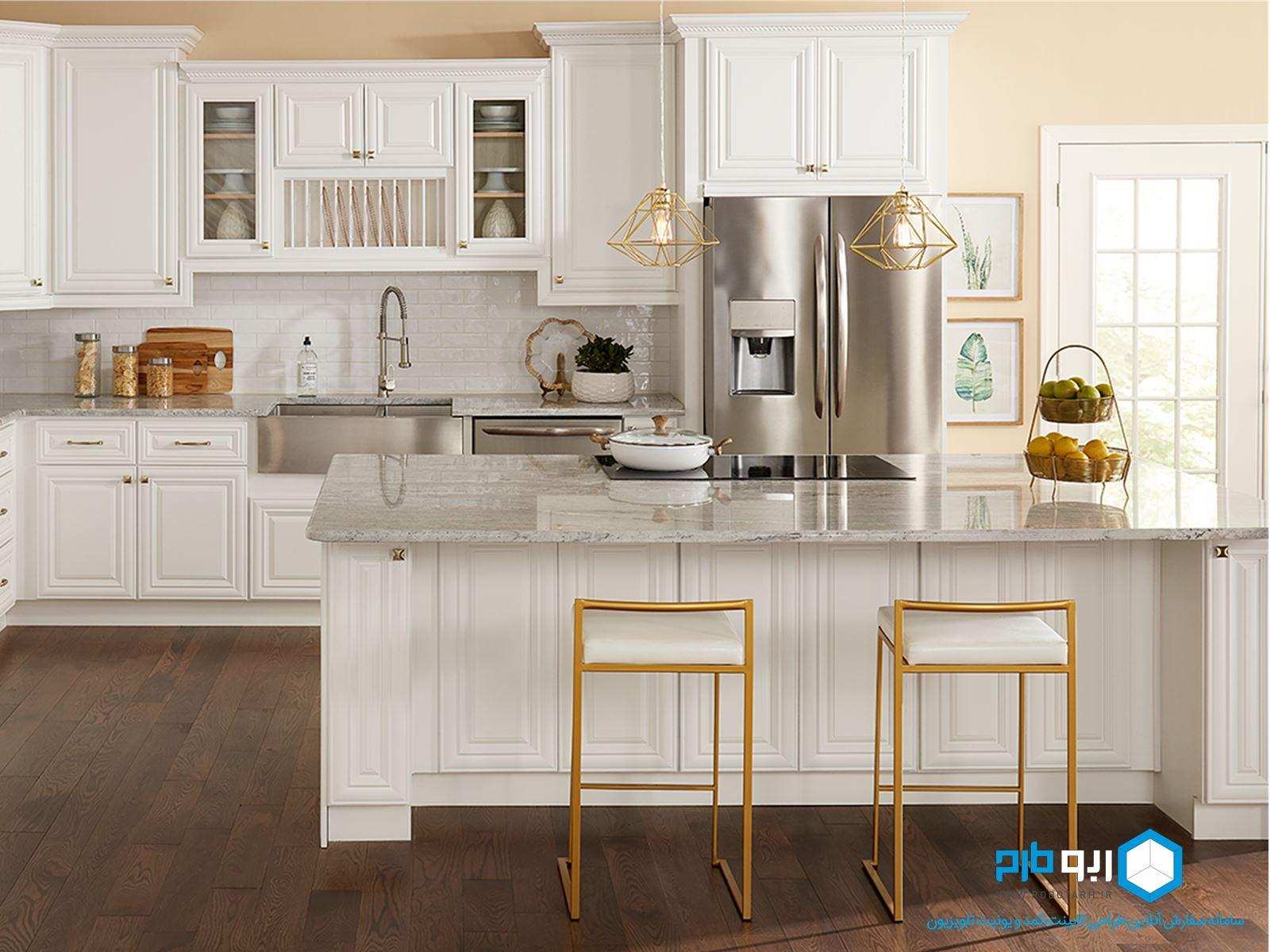 کابینت سفید و ترکیب رنگ طلایی