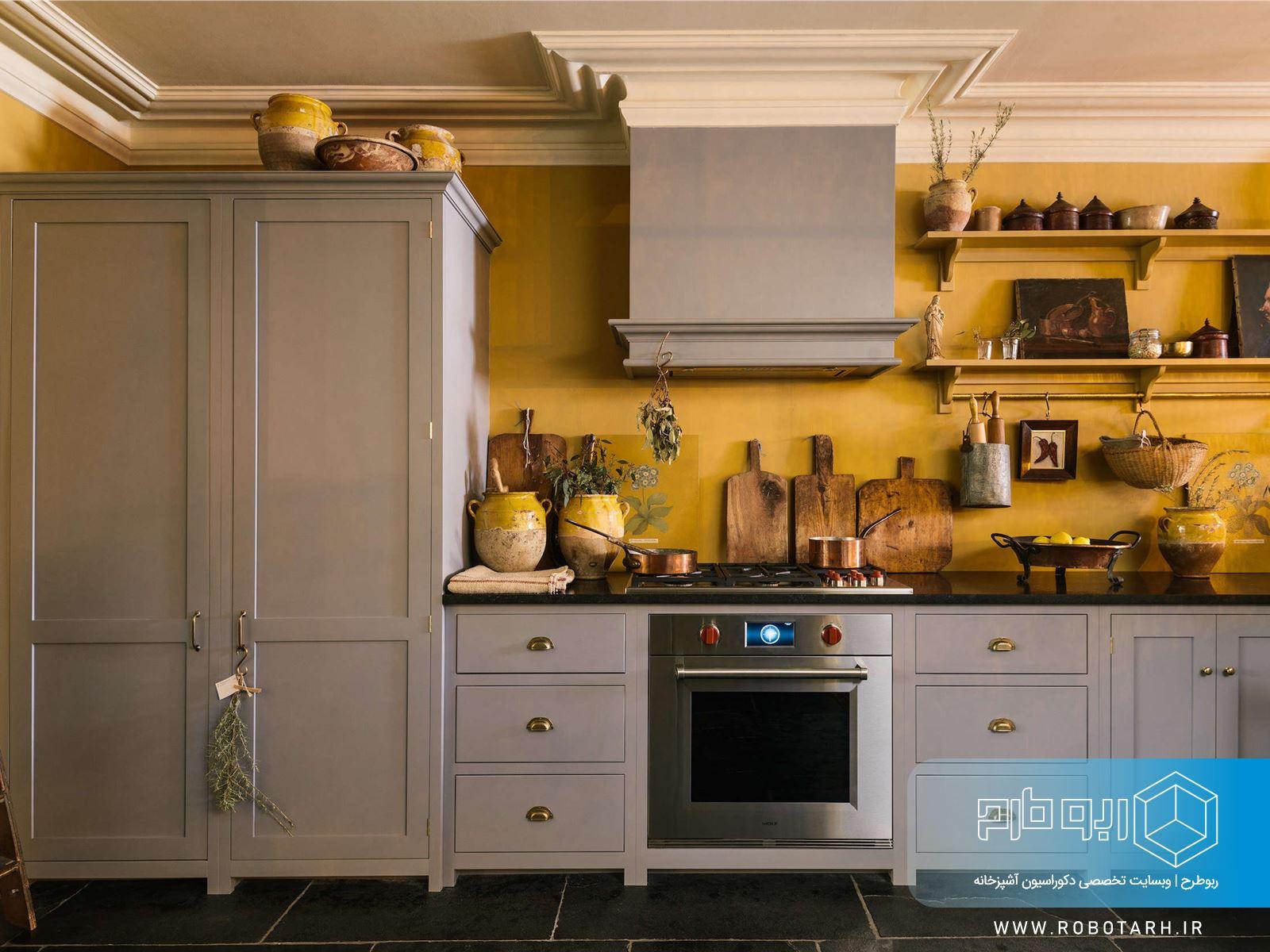 ترکیب کابینت آشپزخانه زرد و طوسی