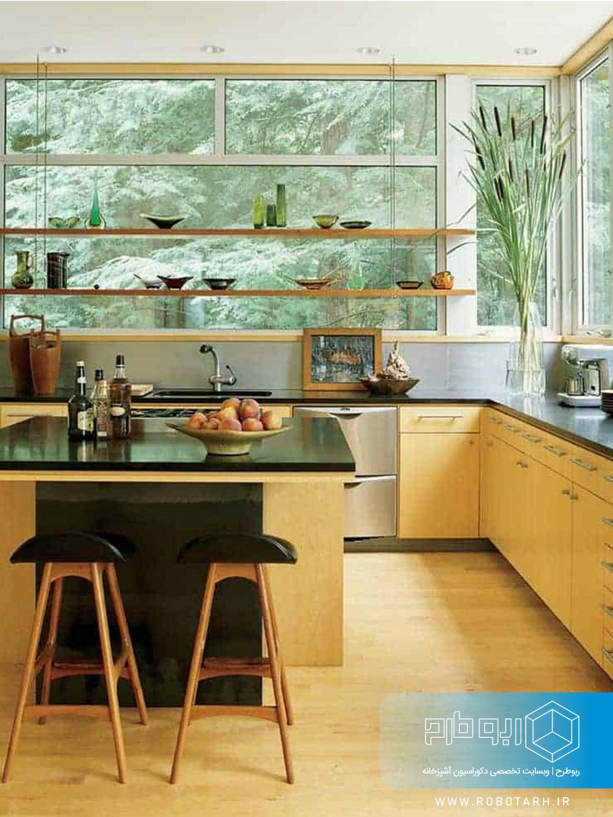ترکیب کابینت آشپزخانه زرد و مشکی