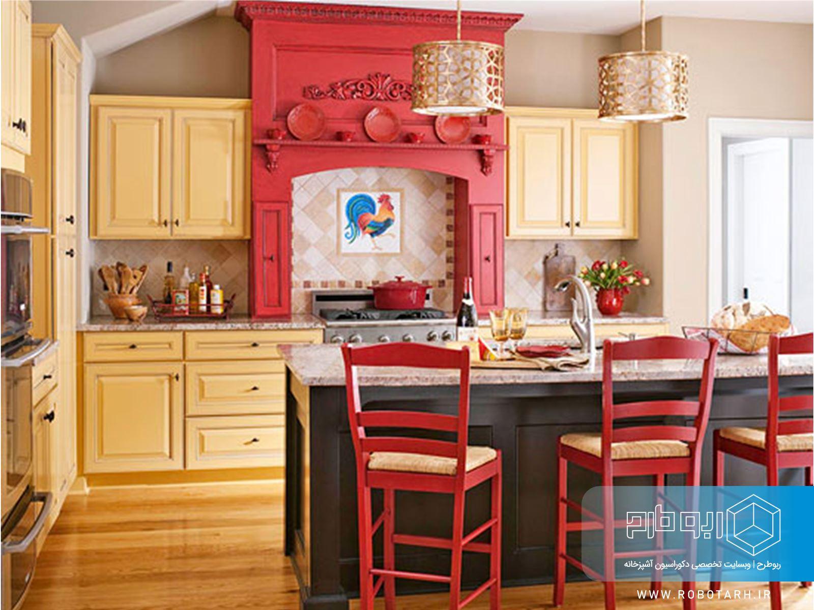 ترکیب کابینت آشپزخانه زرد و قرمز