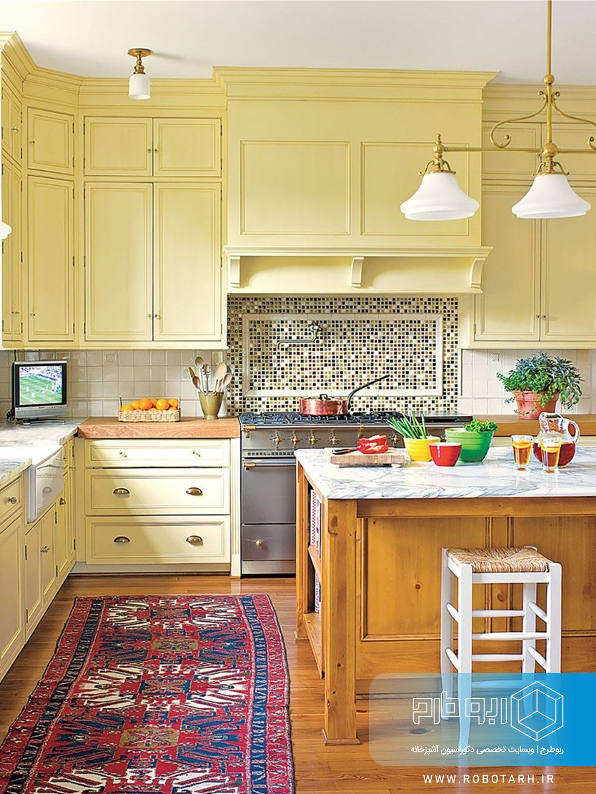 ترکیب کابینت آشپزخانه زرد مات و قهوه ای