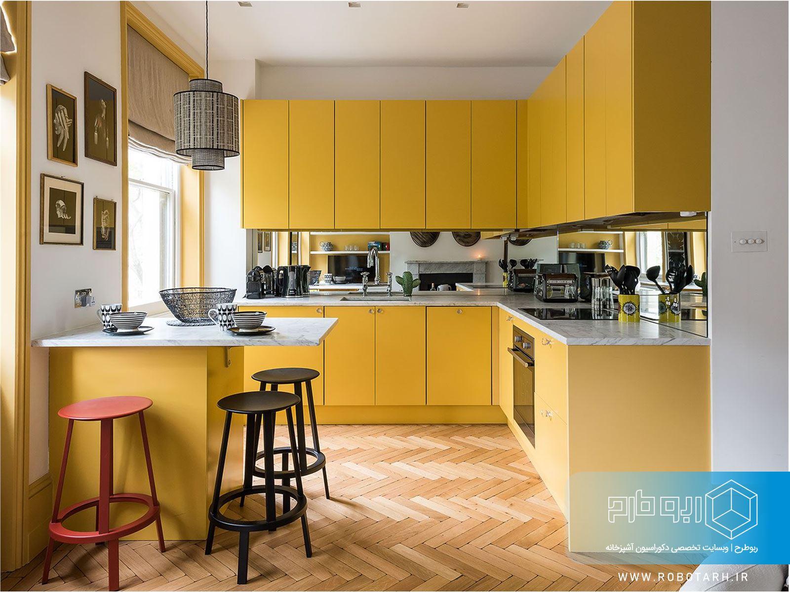 ترکیب کابینت آشپزخانه زرد و رنگ سفید
