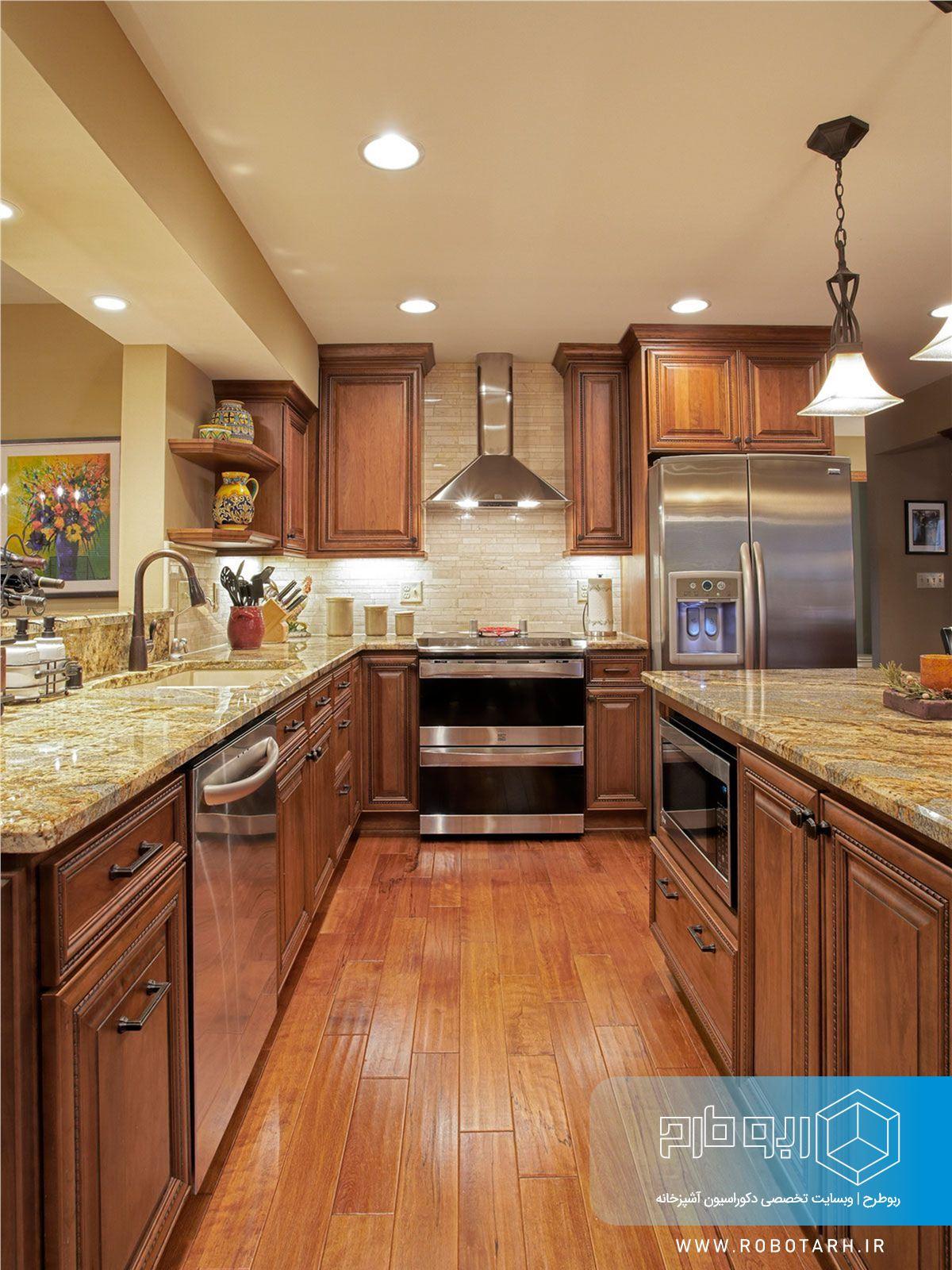 رنگ قهوه ای در کابینت آشپزخانه