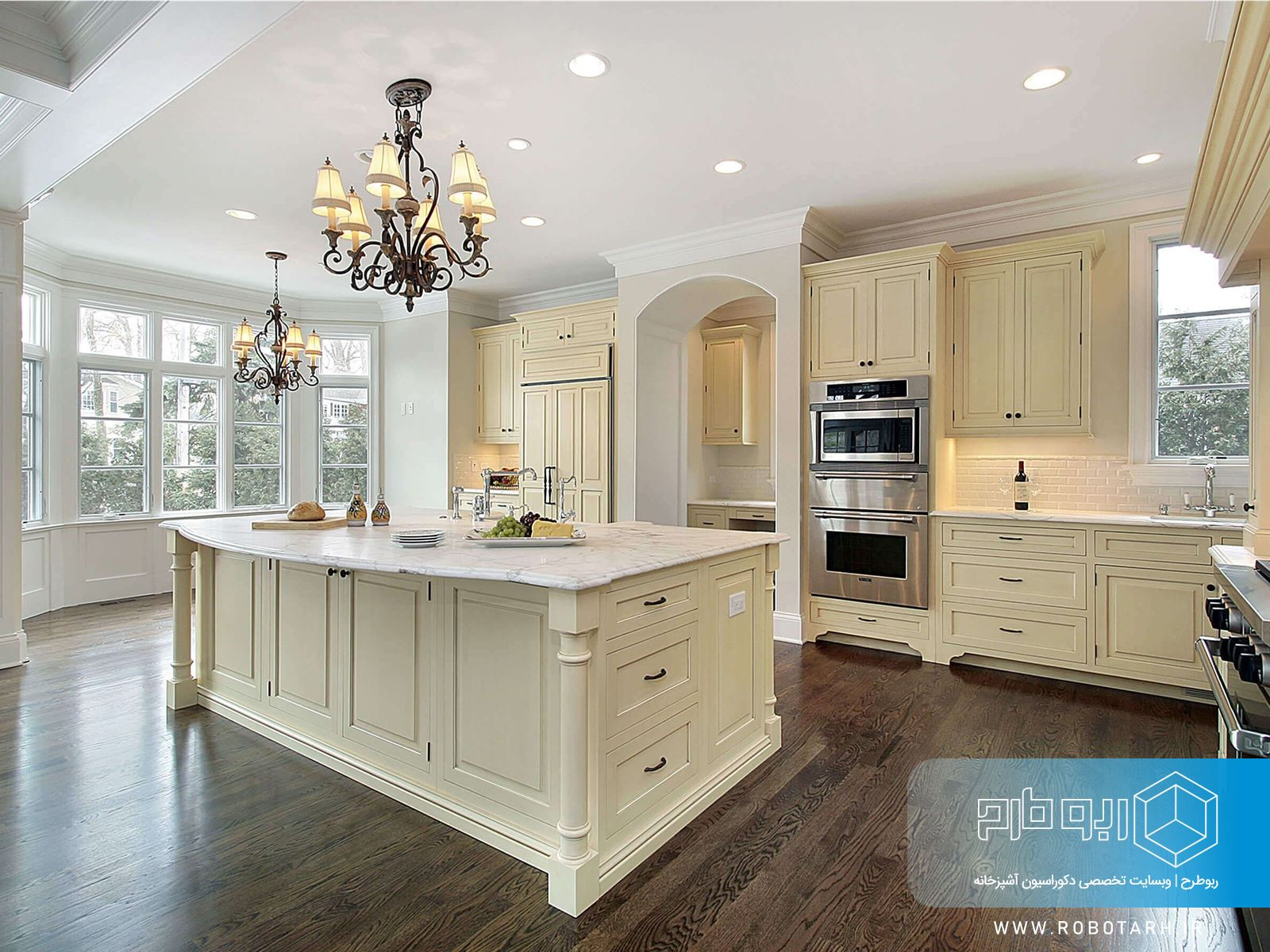 آشپزخانه کلاسیک کرمی رنگ