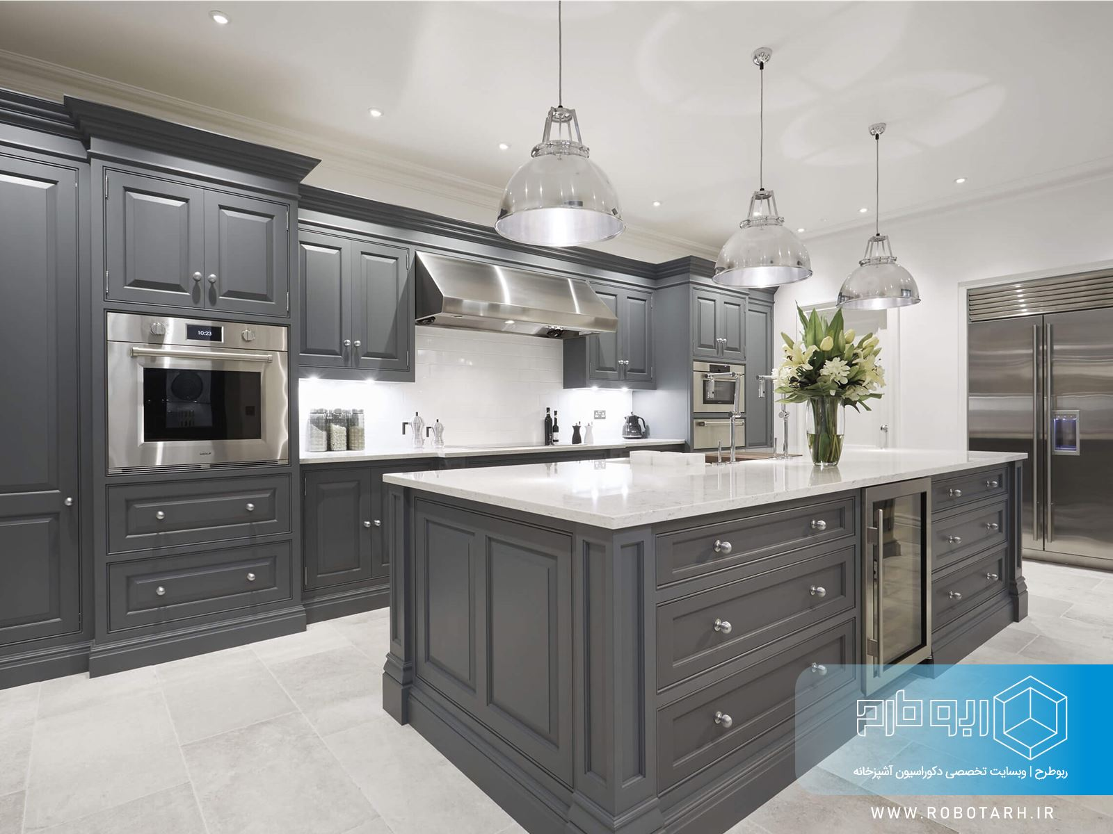 آشپزخانه کلاسیک خاکستری رنگ