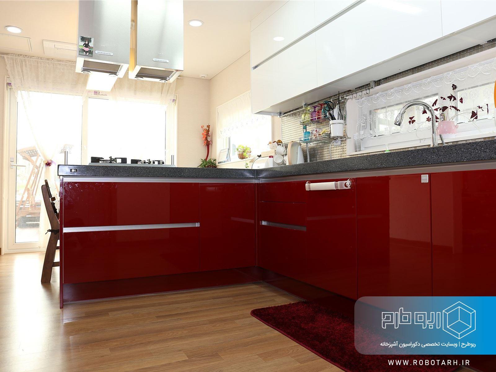 استفاده از رنگ قرمز در آشپزخانه مدرن