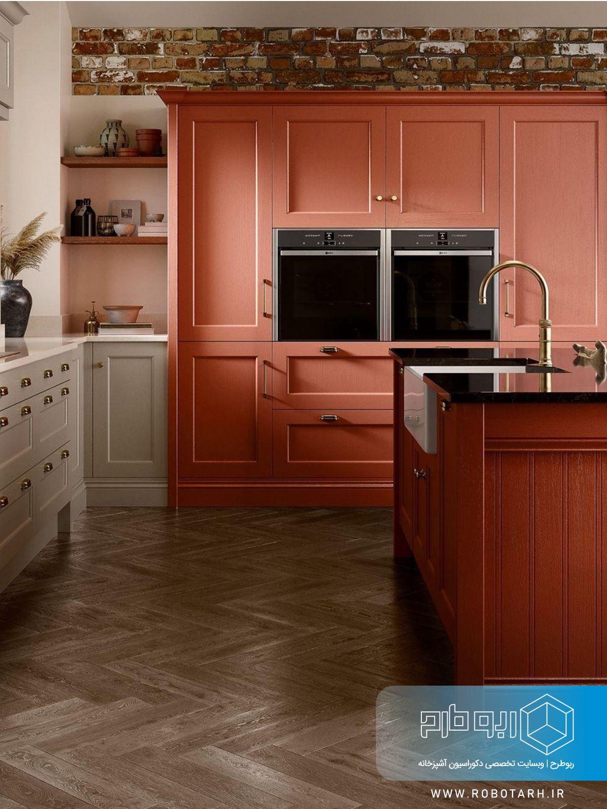 استفاده از رنگ قرمز در آشپزخانه نئوکلاسیک