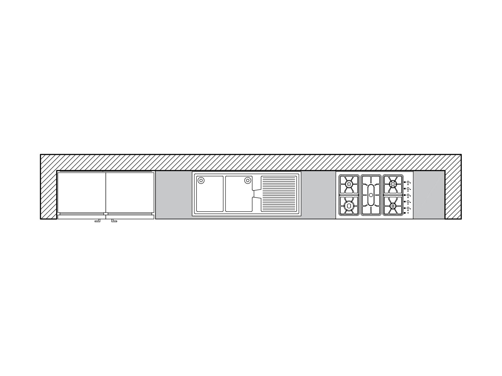 پلان آشپزخانه دیواری
