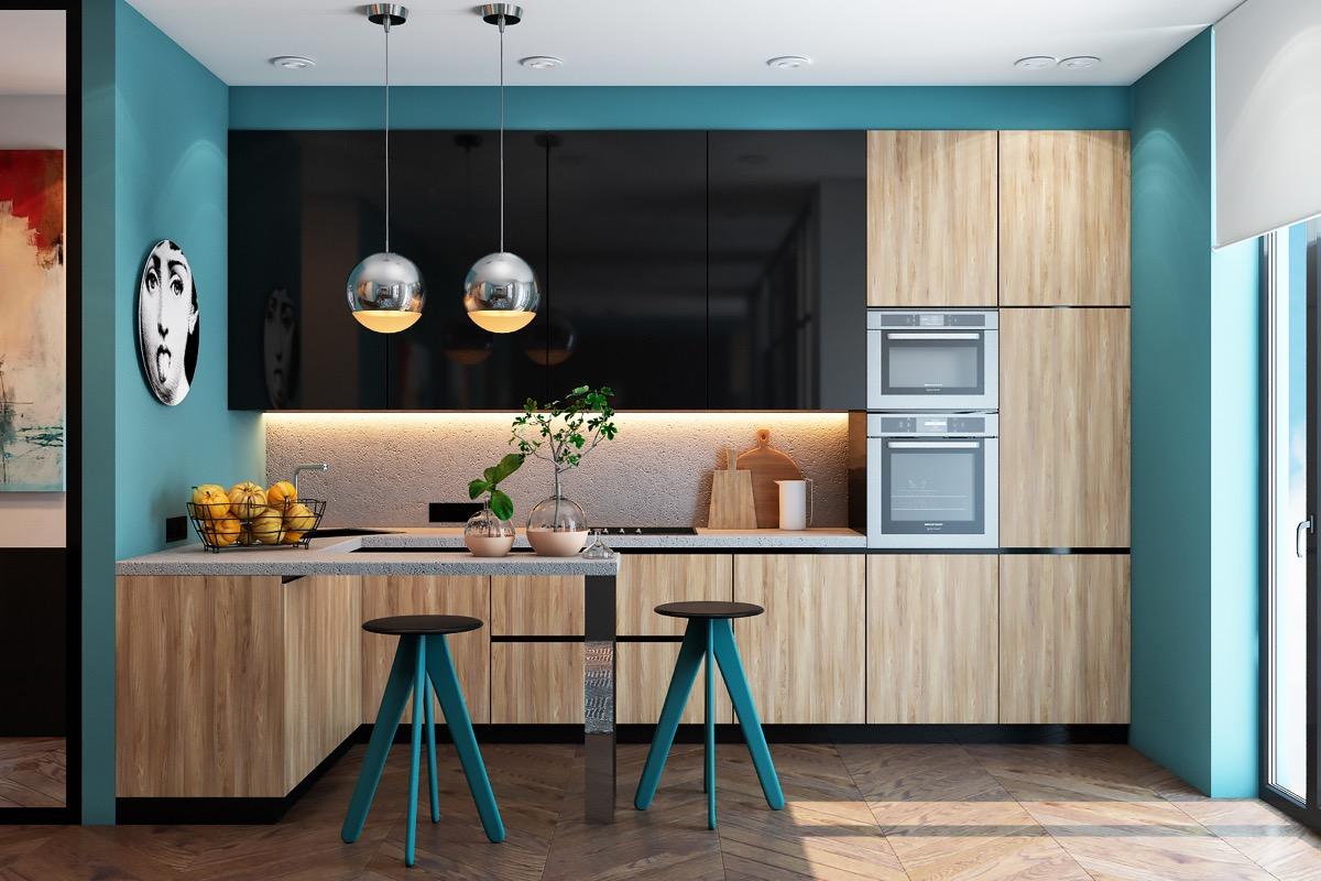 آشپزخانه ی با دیوارهای آبی رنگ