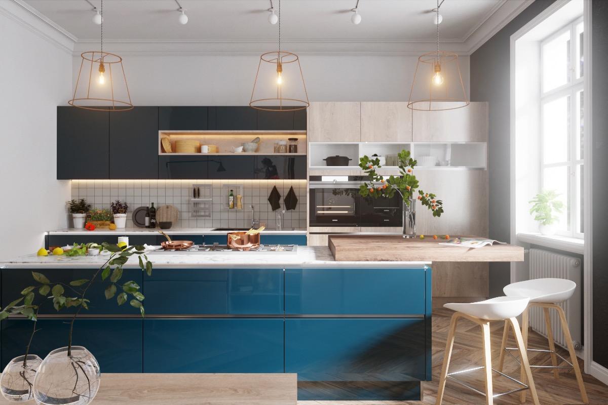 آشپزخانه ای با رنگ آبی نفتی