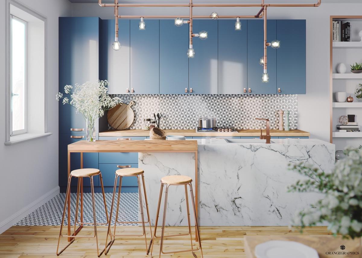 آشپزخانه آبی رنگ با چراغ آویز مسی