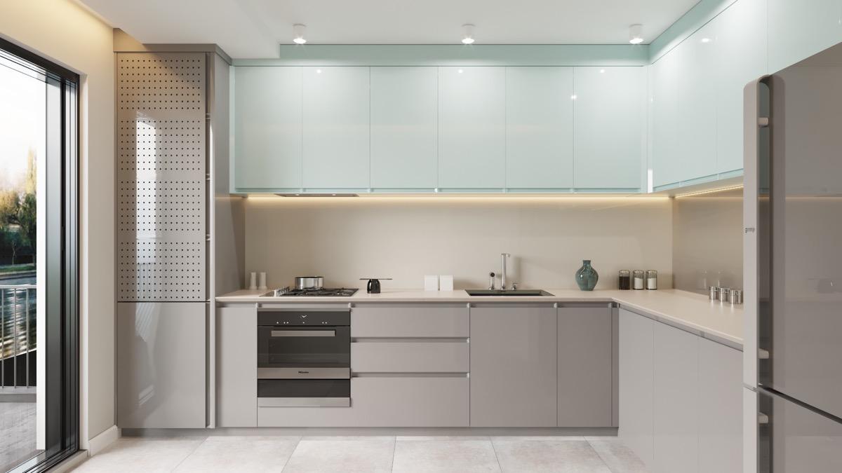 ترکیب رنگ های خاکستری و آبی در آشپزخانه