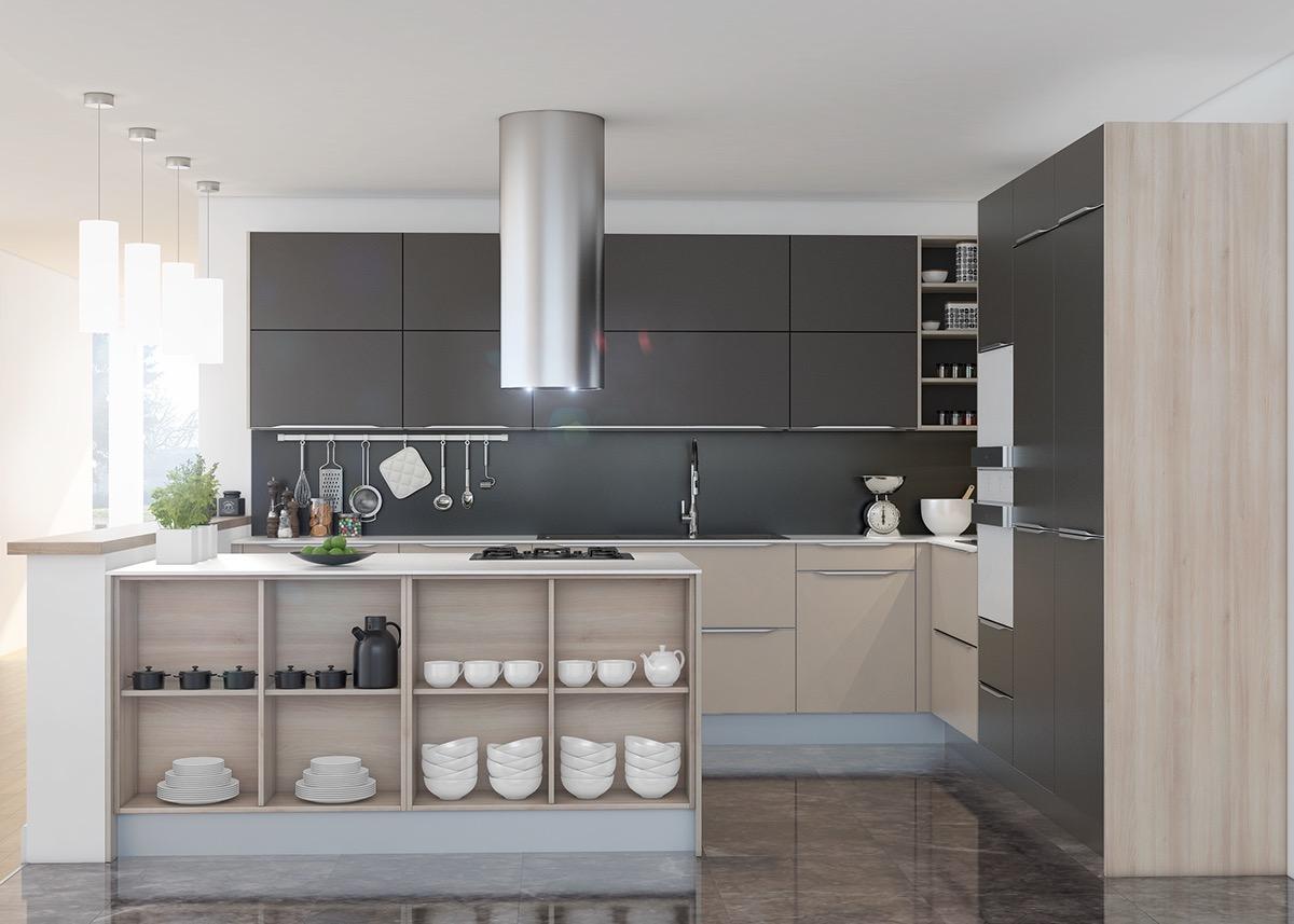 ترکیب خاکستری و چوب روشن - ربوطرح