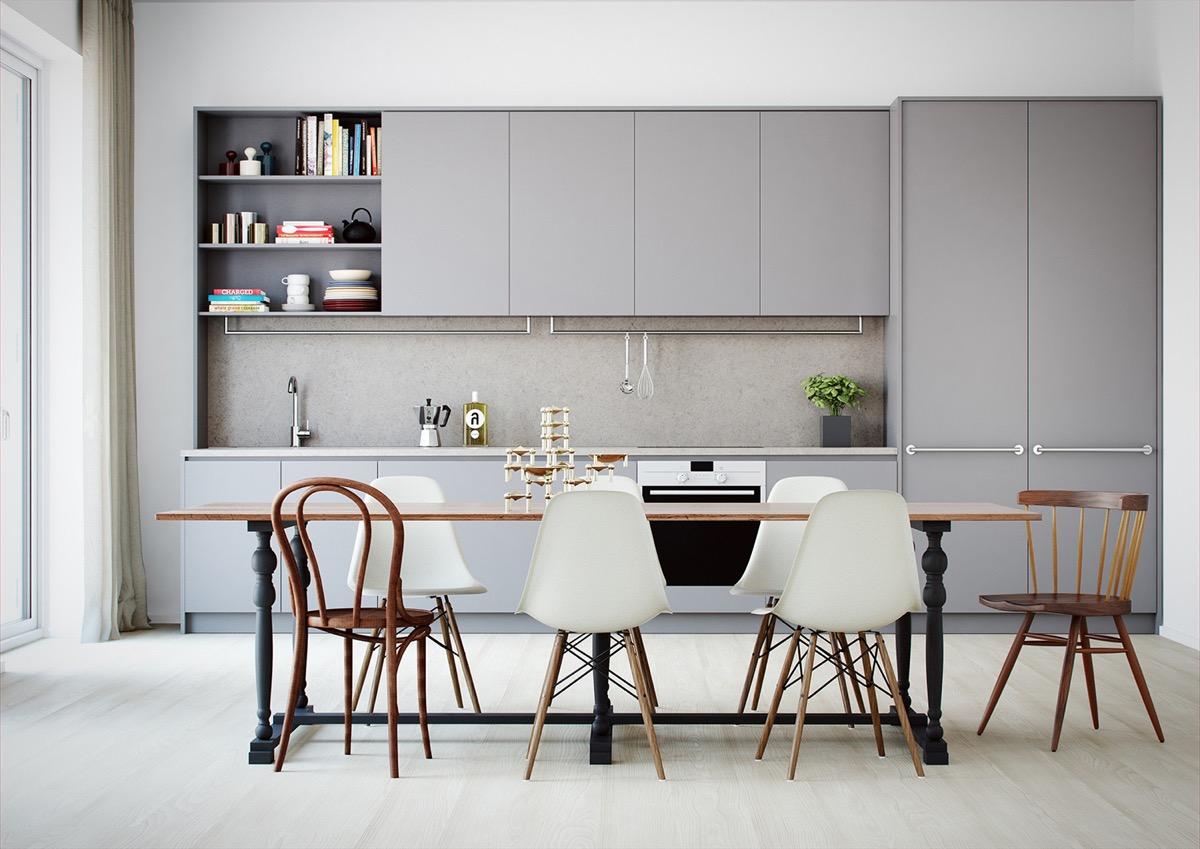 کابینت خاکستری رنگ با میز چوبی - ربوطرح