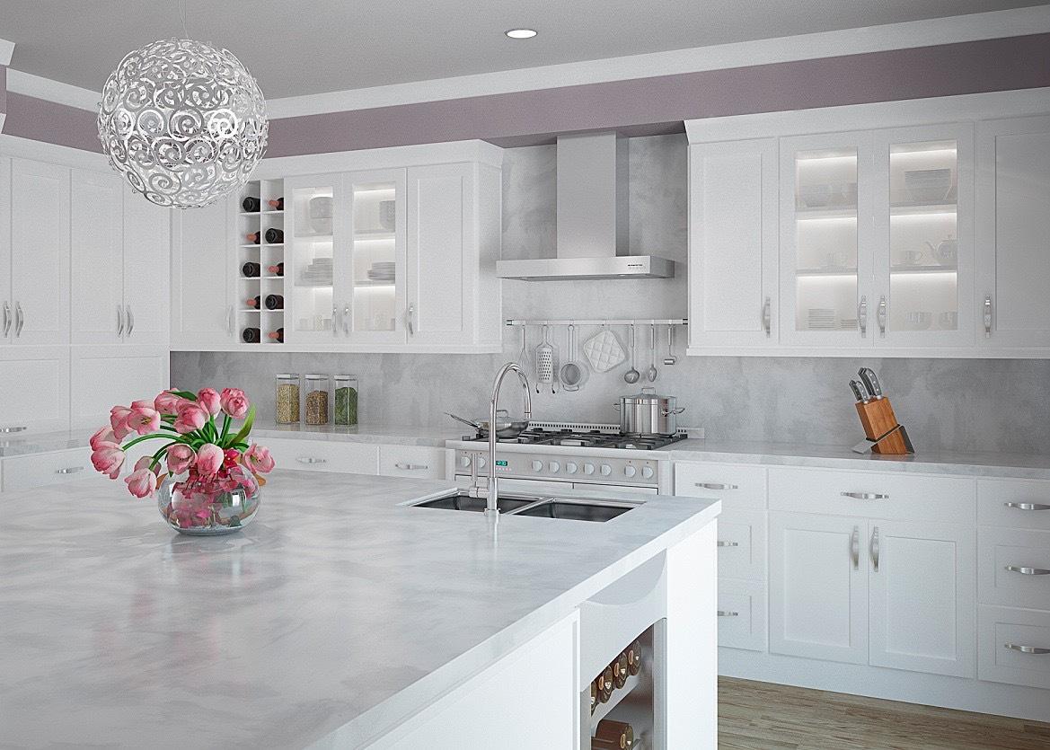 آشپزخانه بی روح با رنگ سفید