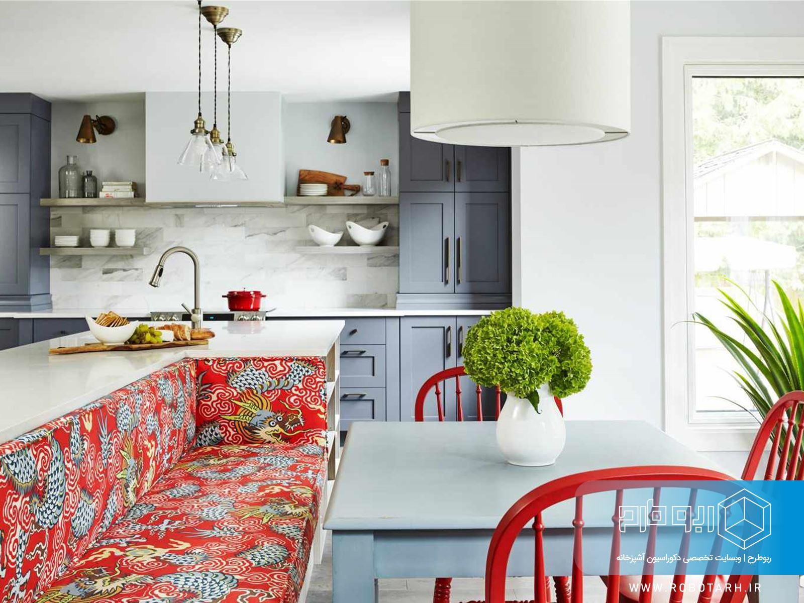 استفاده ار پارچه های رنگی در دکوراسیون آشپزخانه